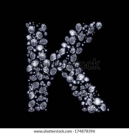 K Letter In Diamond 3D Diamond letter K on black isolated with clipping path - stock photo