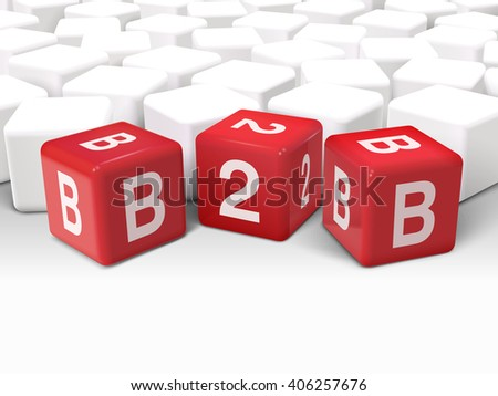 3d dice with word B2B business to business on white background - stock photo