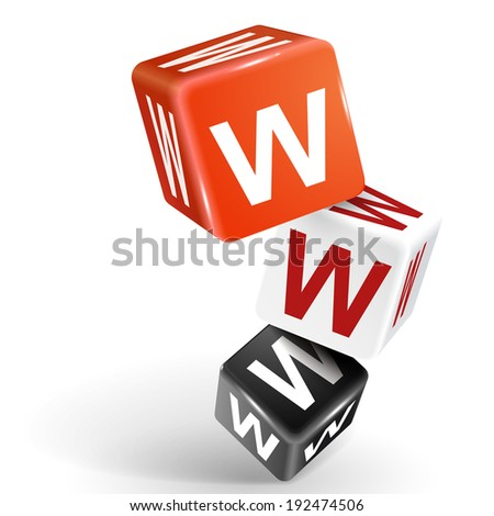 3d dice with word WWW World Wide Web on white background - stock photo