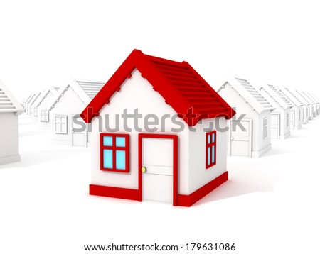 3d different house with red roof standing out from crowd. Real Estate sale concept. cartoon 3d render illustration - stock photo