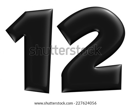 3D 1 & 2 digit later in black on isolated white background. - stock photo