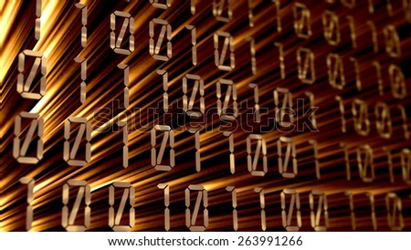 3D. Digital Display, Digitally Generated Image, Binary Code. - stock photo