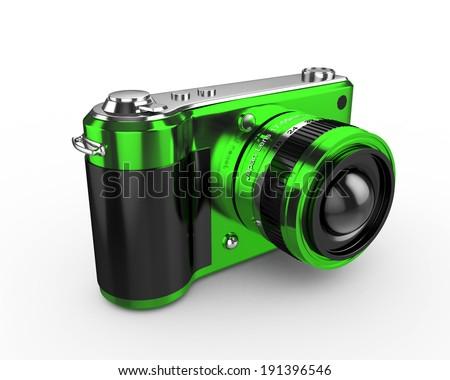3d Digital Photo Camera (Green) - isolated - stock photo