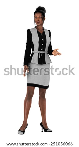 3D digital render of a beautiful black business woman isolated on white background - stock photo