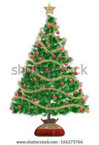 3D digital render of a beautiful Christmas tree isolated on white background - stock photo