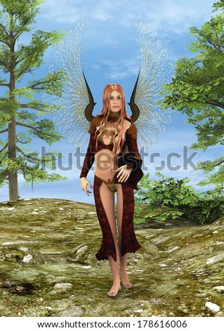 3D digital render of a beautiful Fairy in a fairytale forest - stock photo