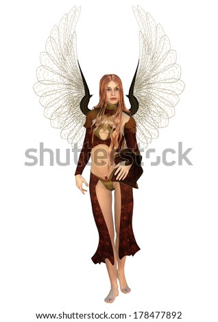 3D digital render of a beautiful Fairy isolated on white background - stock photo