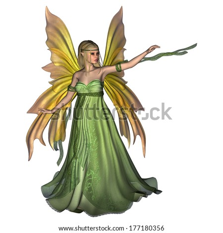 3D digital render of a beautiful Fairy Queen isolated on white background - stock photo