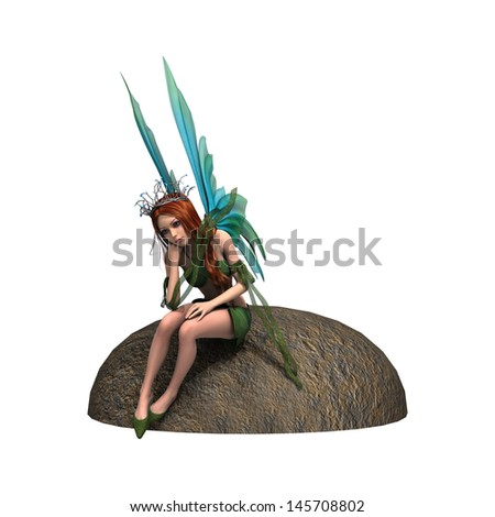 3D digital render of a beautiful fairy sitting on the stone isolated on white background - stock photo