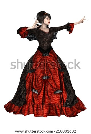 3D digital render of a beautiful fantasy female wizard in a red and black dress with wings isolated on white background - stock photo