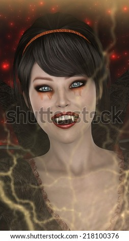 3D digital render of a beautiful fantasy lady vamp on a red sparkling background - stock photo