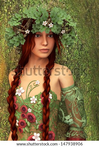 3D digital render of a beautiful fantasy summer girl on green tree background