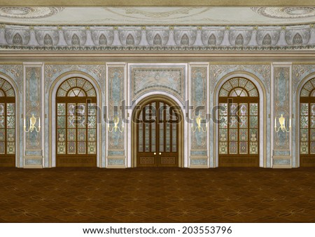 3D digital render of a beautiful retro ballroom in a palace - stock photo