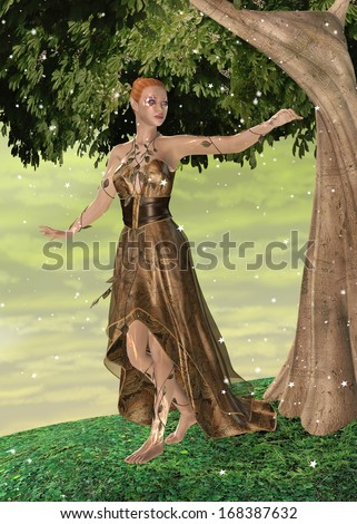 3D digital render of a beautiful sparkling female elf in a fantasy garden - stock photo