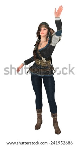 3D digital render of a beautiful waving piratess isolated on white background - stock photo