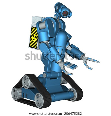 3D digital render of a blue service robot carrying a box with a radioactive sign isolated on white background - stock photo