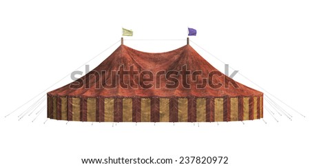 3D digital render of a carnival big tent isolated on white background - stock photo