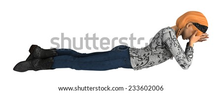 3D digital render of a crying teenager girl isolated on white background - stock photo