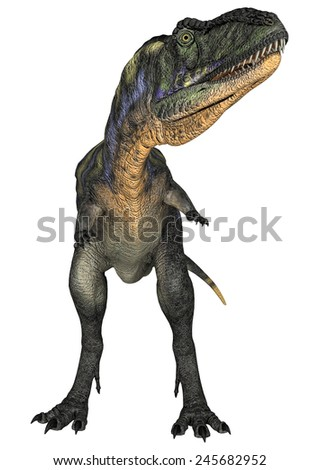 3D digital render of a curious dinosaur Aucasaurus isolated on white background