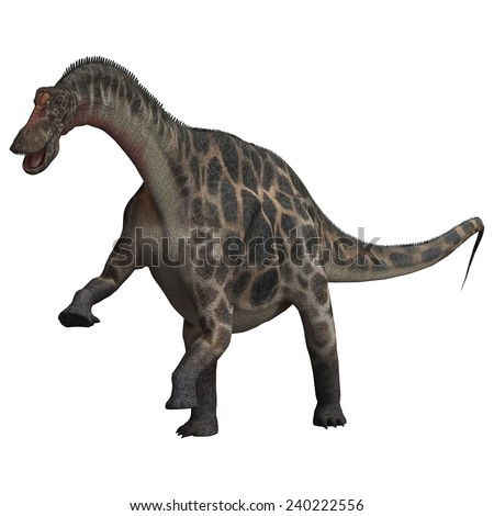 3D digital render of  a curious dinosaur Dicraeosaurus isolated on white background - stock photo
