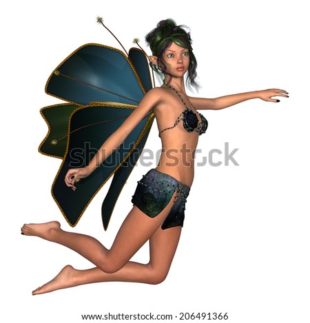 3D digital render of a cute flying fairy butterfly isolated on white background - stock photo