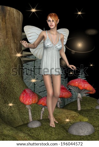 3D digital render of a cute white fairy butterfly in a night fairytale forest - stock photo