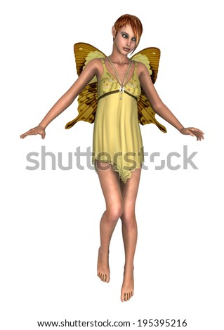 3D digital render of a cute yellow fairy butterfly isolated on white background - stock photo