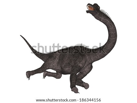 3D digital render of a dinosaur Brachiosaurus isolated on white background