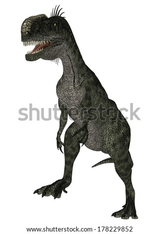 3D digital render of a dinosaur Monolophosaurus isolated on white background
