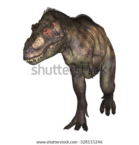 3D digital render of a dinosaur tyrannosaurus isolated on white background