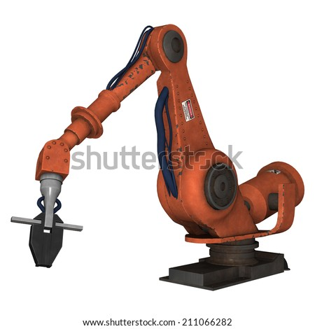 3D digital render of a factory robot isolated on white background - stock photo