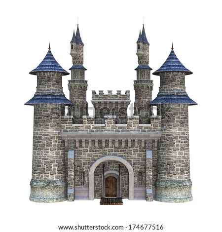 3D digital render of a fairytale castle isolated on white background - stock photo