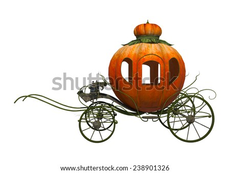 3D digital render of a fairytale Cinderella's pumpkin carriage isolated on white background - stock photo