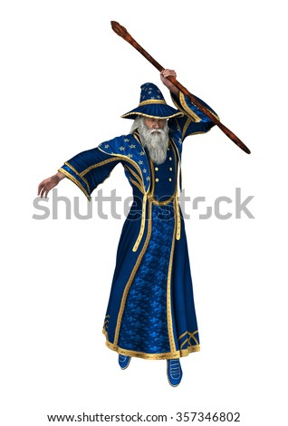 3D digital render of a fantasy wizard isolated on white background