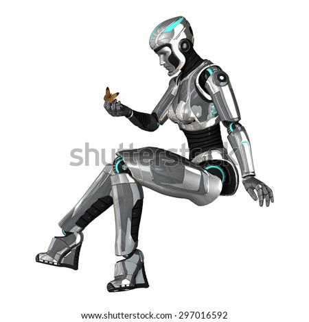 3D digital render of a female cyborg holding a butterfly in her hand isolated on white background - stock photo
