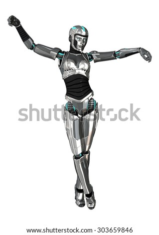 3D digital render of a female cyborg isolated on white background
