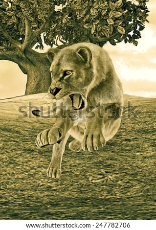 3D digital render of a hunting female lion on a forest background, old picture effect - stock photo