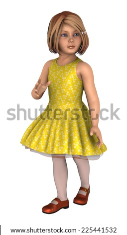 3D digital render of a little girl in a yellow dress isolated on white background