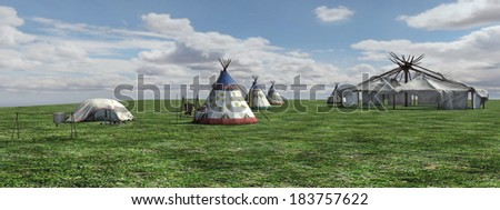 3D digital render of a  native american village, panorama view, painting effect - stock photo