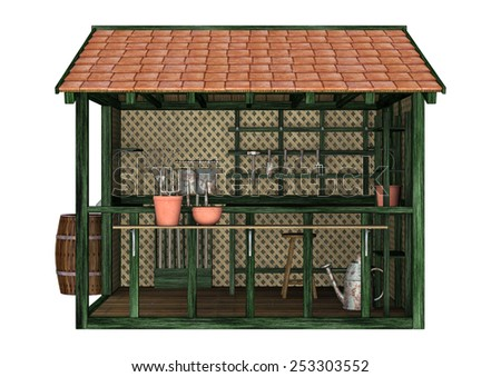 3D digital render of a potting shed and tools isolated on white background