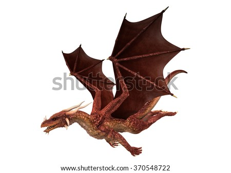 3D digital render of a red fantasy dragon flying isolated on white background