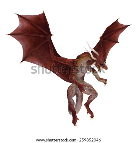 3D digital render of a red fantasy dragon isolated on white background - stock photo