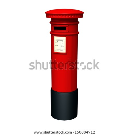 3D digital render of a red pillar post box isolated on white background