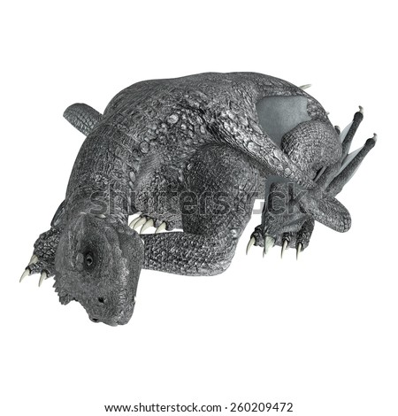 3D digital render of a resting fantasy dragon isolated on white background - stock photo