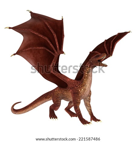 3D digital render of a roaring red fantasy dragon isolated on white background - stock photo