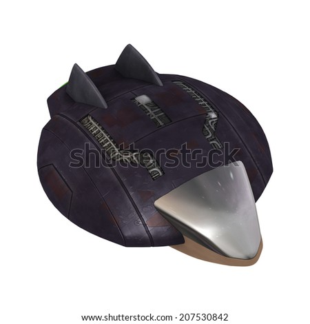 3D digital render of a science fiction aliens spaceship isolated on white background - stock photo