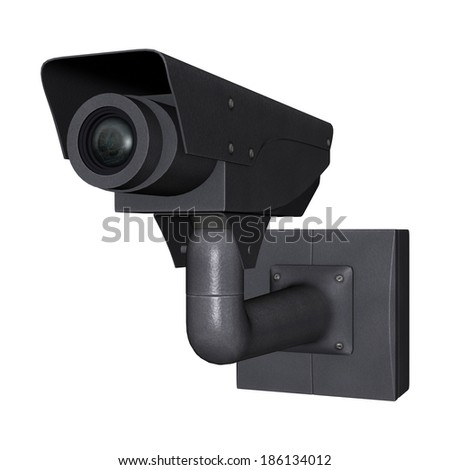 3D digital render of a security camera isolated on white background - stock photo
