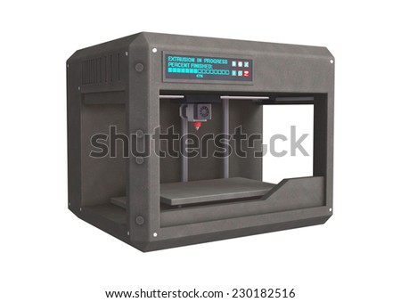 3D digital render of a three dimensional printer isolated on white background - stock photo