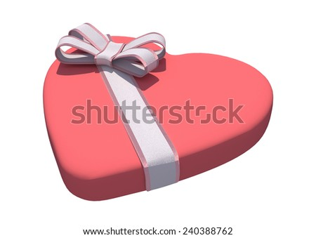 3D digital render of a Valentine heart shaped candy box isolated on white background