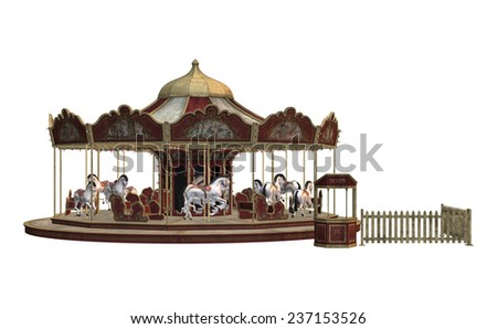 3D digital render of a vintage carnival carousel isolated on white background - stock photo